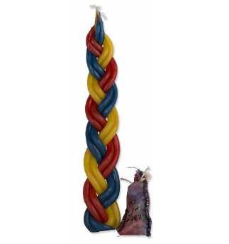 Braided 6 Wick Havdalah Candle with Besamim - Multicolor