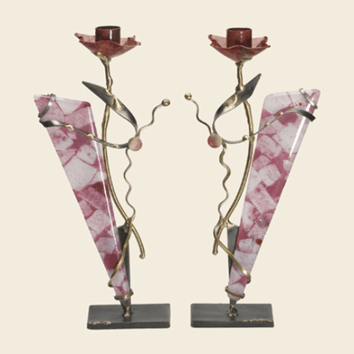 Metal and Glass Pink Shabbat Candlesticks by Gary Rosenthal - ModernTribe