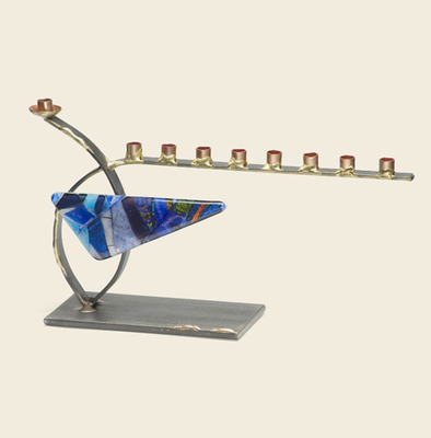 Gary Rosenthal Menorah Blue Curved Steel and Glass Menorah by Gary Rosenthal