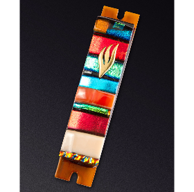 Amber Stripe Glass Mezuzah