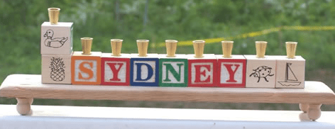 Wooden Block Name Menorah