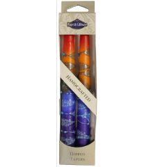 Rainbow Taper Shabbat Candles - 7.5""