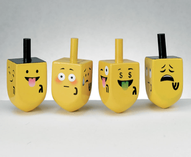 Four Emoji Wooden Dreidel