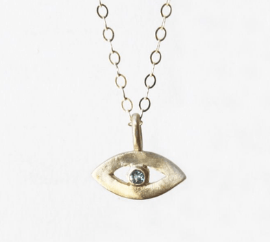 14k Gold Tiny Evil Eye Amulet by Emily Rosenfeld