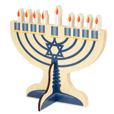 Natural Finish Wood Menorah - ModernTribe