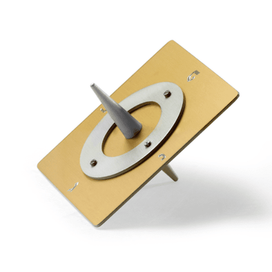 Gold Base Square Saturn Dreidel by Laura Cowan