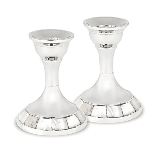 Mother of Pearl Shabbat Candlesticks