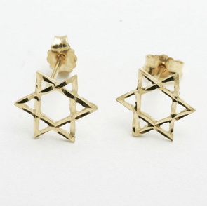 14k Gold Star of David Earrings