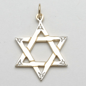 14k Gold and Diamond Star of David Pendant