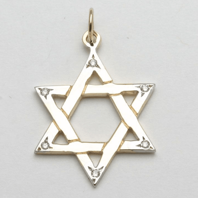 14k Gold and Diamond Star of David Pendant - ModernTribe