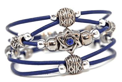 My Tribe by Sea Ranch Jewelry Bracelets Swarovski Star of David Beaded Leather Bracelet - Blue