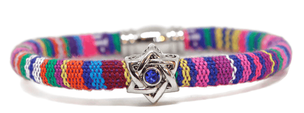 "My Tribe by Sea Ranch Jewelry Bracelets 7"" / PinkPurple Swarovski Star of David Woven Cotton Bracelet - Choice of Color"