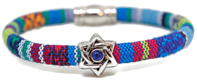 "My Tribe by Sea Ranch Jewelry Bracelets 7"" / Turquoise Swarovski Star of David Woven Cotton Bracelet - Choice of Color"