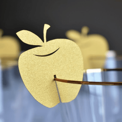 Apple Wine Glass Decorations - Set of 10