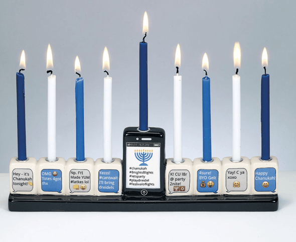 Texting Hand-Painted Menorah