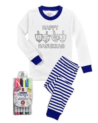 Sara's Prints Pajamas Happy Hanukkah ColorMe Pajamas Set - Kids Unisex
