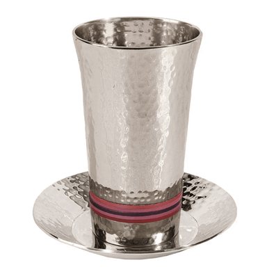 Wide Rings Kiddush Cup and Dish by Yair Emanuel - Pink