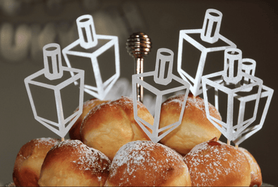 The KitCut Decor Silver Dreidel Cupcake Toppers