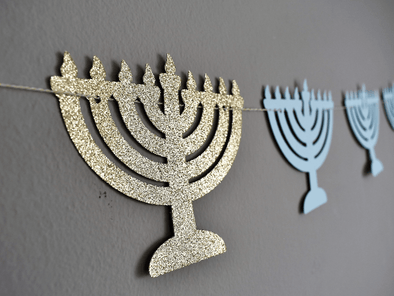 The KitCut Decor Menorah Garland - Light Blue and Gold