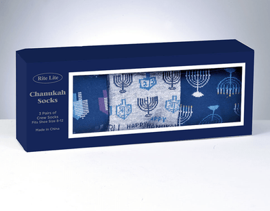 Hanukkah Socks Gift Box - 3 Pair Adult Crew Socks