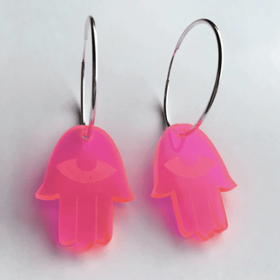 Neon Pink Acrylic Hamsa Hoop Earrings - ModernTribe