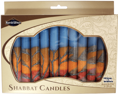 Israeli Hand Crafted Harmony Turquoise Shabbat Candles | Set of 12
