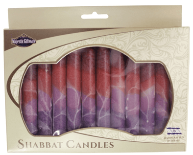 Israeli Hand Crafted Fantasy Maroon Shabbat Candles | Set of 12