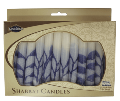 Israeli Hand Crafted Tree Blue Shabbat Candles | Set of 12