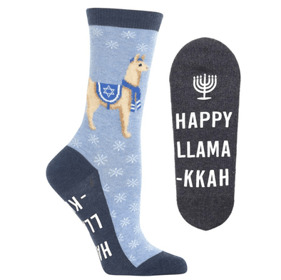 Women's Happy Llamakkah Non Skid Crew Socks