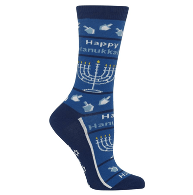 Women's Happy Hanukkah Non Skid Crew Socks