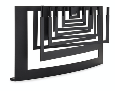 Sculptural Steel Menorah - Onyx or Diamond