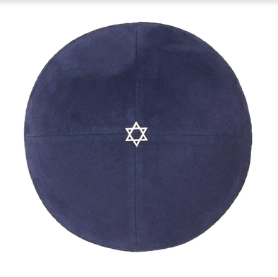 Navy Blue Suede Star of David Kippah
