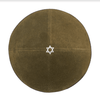 Olive Green Suede Star of David Kippah - ModernTribe