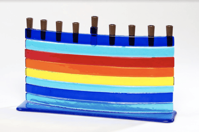 Rainbow Arc Fused Glass Menorah by Daryl Cohen - ModernTribe