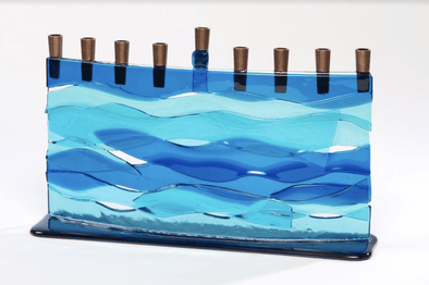 Blue Wave Arc Fused Glass Menorah by Daryl Cohen - ModernTribe