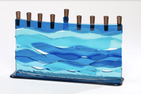 Blue Wave Arc Fused Glass Menorah by Daryl Cohen