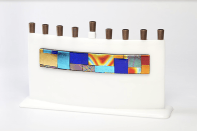 White Arc Dichroic Stripe Glass Menorah by Daryl Cohen