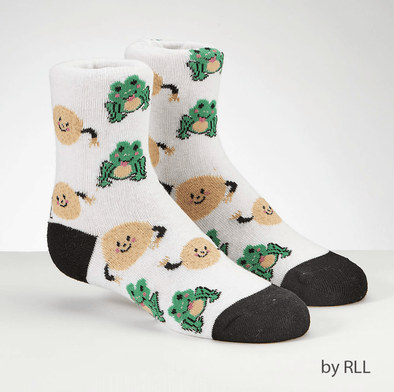 Passover Kids Crew Socks, Frogs and Matzah Balls Design - ModernTribe