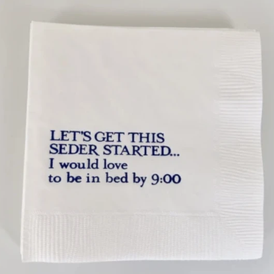 Let's Get This Seder Started, I Would Love to Be in Bed by 9:00 Cocktail Napkins, Set of 20