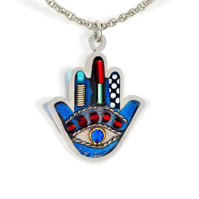 Seeka Handpainted Blue Hamsa Necklace - ModernTribe