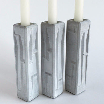 Angled Hand-Cast Concrete Candlesticks - Pair by American Design Club - ModernTribe - 1
