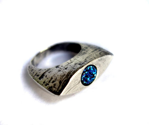 Evil Eye Sterling Ring with Blue Drusy by Rachel Pfeffer - ModernTribe - 1