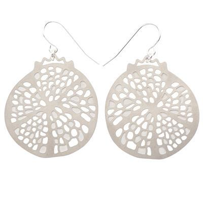 Polli Earrings Silver Pomegranate Stainless Steel Earrings by Polli