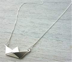 Origami Boat Necklace in Silver by Shlomit Ofir - ModernTribe