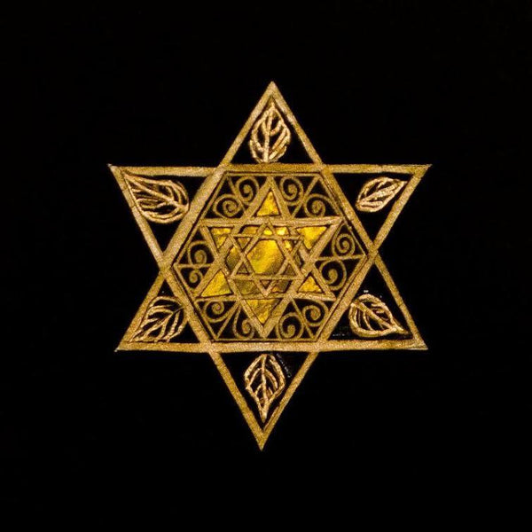 Susan Moffitt Decoration Paper Cut Star of David Art With Leaves