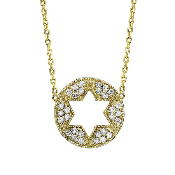 Binah Jewelry Necklaces Star of David Cutout Necklace in Yellow Gold