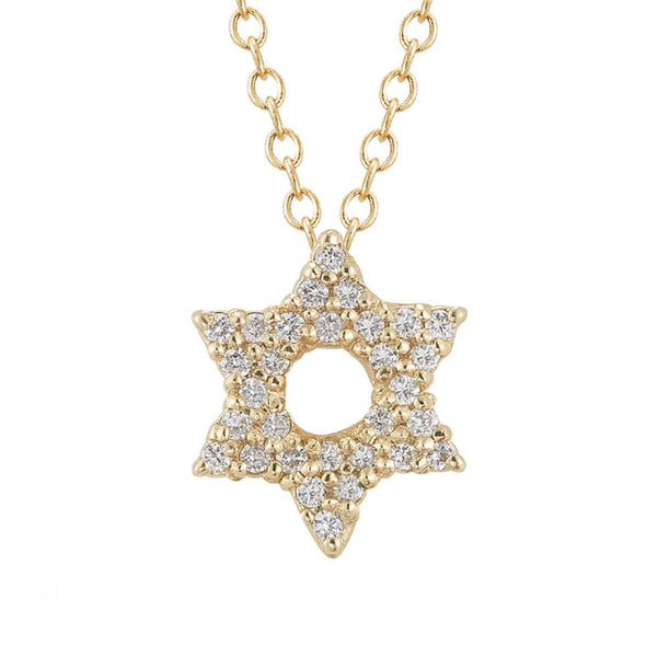 Diamond Star Of David Necklace In Yellow Gold - ModernTribe