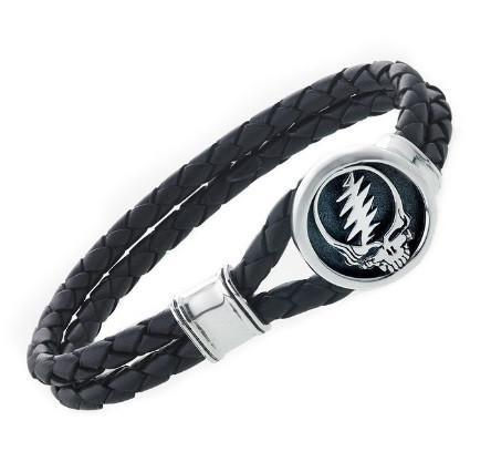 "Cynthia Gale GeoArt Bracelets Silver / 7.5"" Grateful Dead Steal Your Face Bracelet on Black Leather"