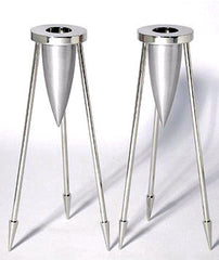 Steel Rocket Shabbat Candlesticks by Laura Cowan by Laura Cowan - ModernTribe