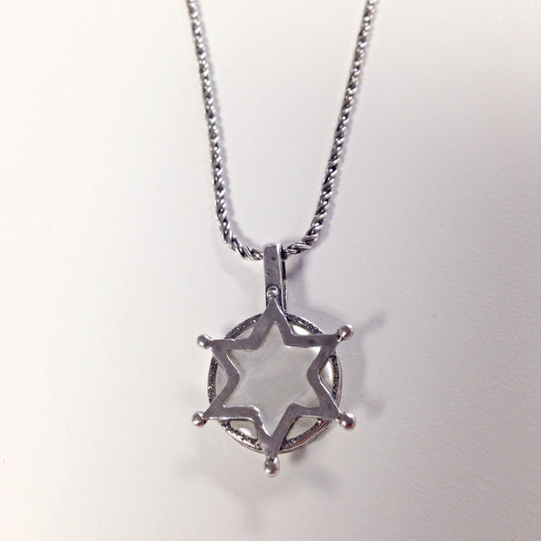 Stephan Necklaces Silver Silver Star of David with Mother of Pearl Necklace